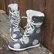Обувь ручной работы. Ярмарка Мастеров - ручная работа Валяные высокие ботинки DOTS. Handmade.