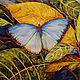 Картины цветов ручной работы. Голубая бабочка.. Lyudmila Maslova. Интернет-магазин Ярмарка Мастеров. Акварельная картина, ручная работа