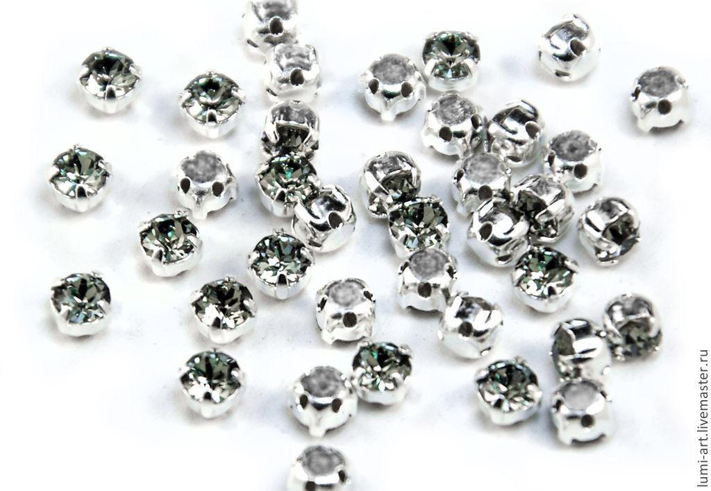 Chaton Montees 4mm Black Diamond в оправе Шатоны Сваровски 15 шт, Кристаллы, Краснодар,  Фото №1