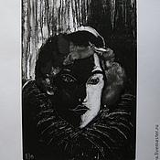 """Картины и панно ручной работы. Ярмарка Мастеров - ручная работа Картина """"Портрет из серебряного века"""" графика эстамп. Handmade."""