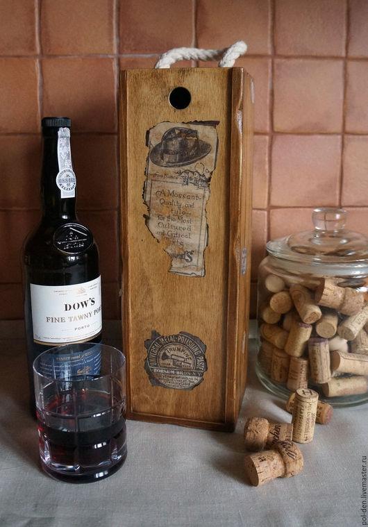 """Корзины, коробы ручной работы. Ярмарка Мастеров - ручная работа. Купить Ящик для бутылки """"Португалия"""". Handmade. Коричневый, старинный стиль"""