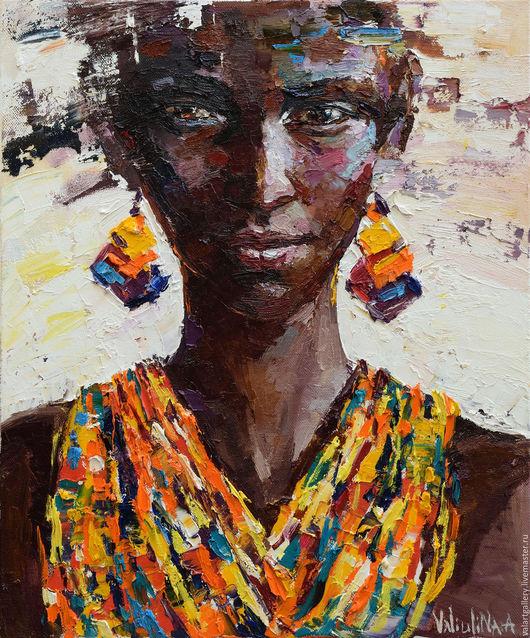 Люди, ручной работы. Ярмарка Мастеров - ручная работа. Купить Портрет Африканки. Handmade. Коричневый, портрет маслом, масляная живопись