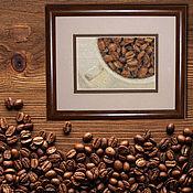 Картины и панно handmade. Livemaster - original item Cross stitch Coffee drink. Handmade.