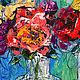 Картины цветов ручной работы. На весу. K&ART. Ярмарка Мастеров. Синий, летний сюжет, яркие цветы