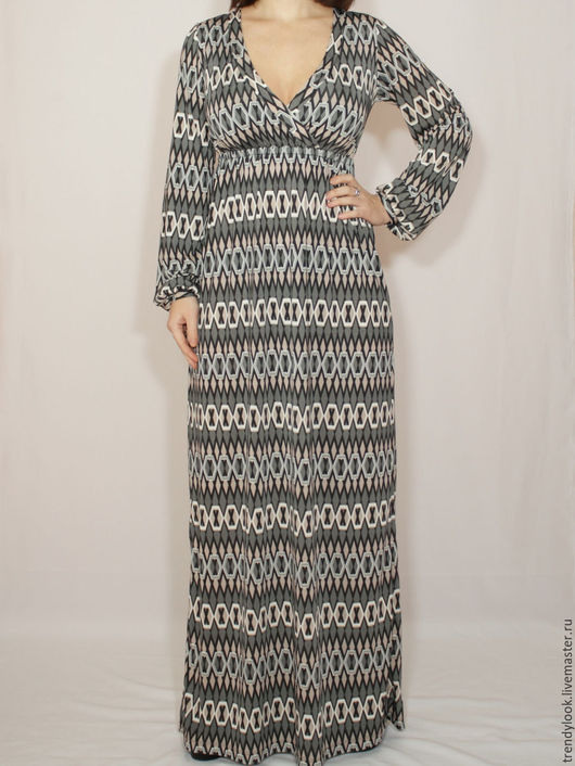 Платья ручной работы. Ярмарка Мастеров - ручная работа. Купить Серое платье в пол,платье с длинным рукавом,геометрический принт. Handmade.