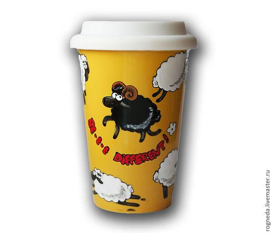 Кружки и чашки ручной работы. Ярмарка Мастеров - ручная работа. Купить Желтая чашка с крышкой Be different! (0877). Handmade.