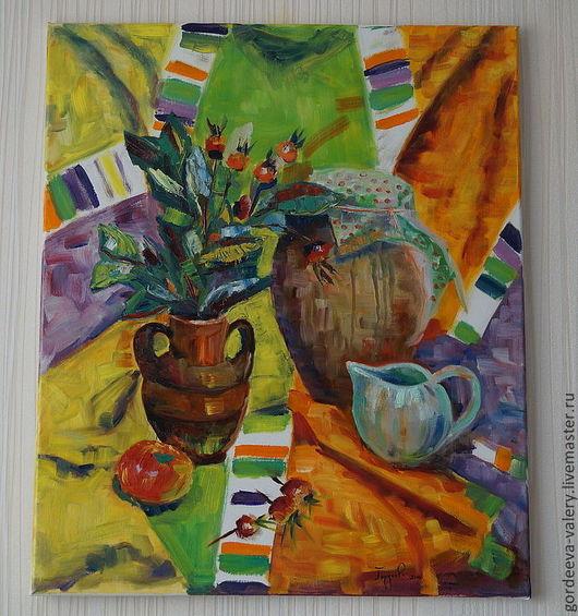 """Натюрморт ручной работы. Ярмарка Мастеров - ручная работа. Купить Картина """"Сочное настроение"""". Handmade. Ярко-зелёный, желтый, натюрморт"""