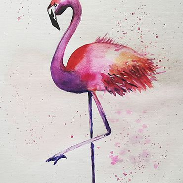 Картины и панно ручной работы. Ярмарка Мастеров - ручная работа Картины: Фламинго. Handmade.