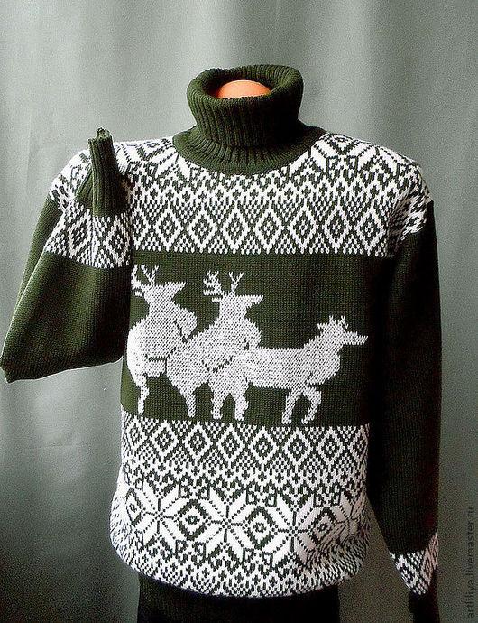 Для мужчин, ручной работы. Ярмарка Мастеров - ручная работа. Купить свитер вязаный теплый мужской  Олени ухажоры с рисунком. Handmade.
