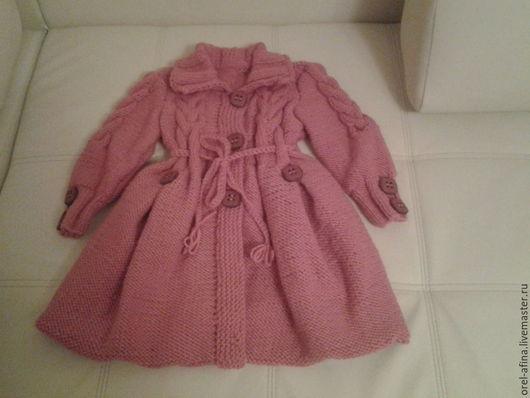 Одежда для девочек, ручной работы. Ярмарка Мастеров - ручная работа. Купить Детское вязаное пальто Брусника. Handmade. Брусничный