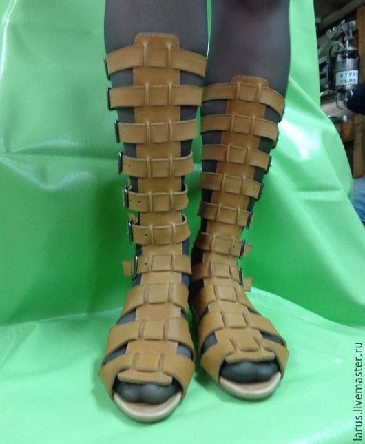 """Обувь ручной работы. Ярмарка Мастеров - ручная работа. Купить Женские босоножки """"римлянки"""". Handmade. Коричневый, натуральная кожа"""