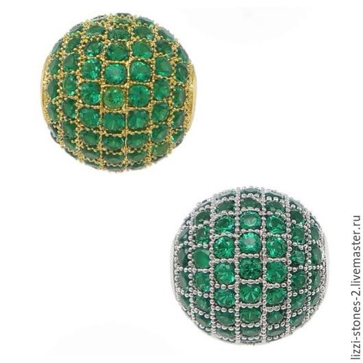 Бусина шар с зелеными кристаллаим 8,10 мм золото и серебро (Milano) Евгения (Lizzi-stones-2)
