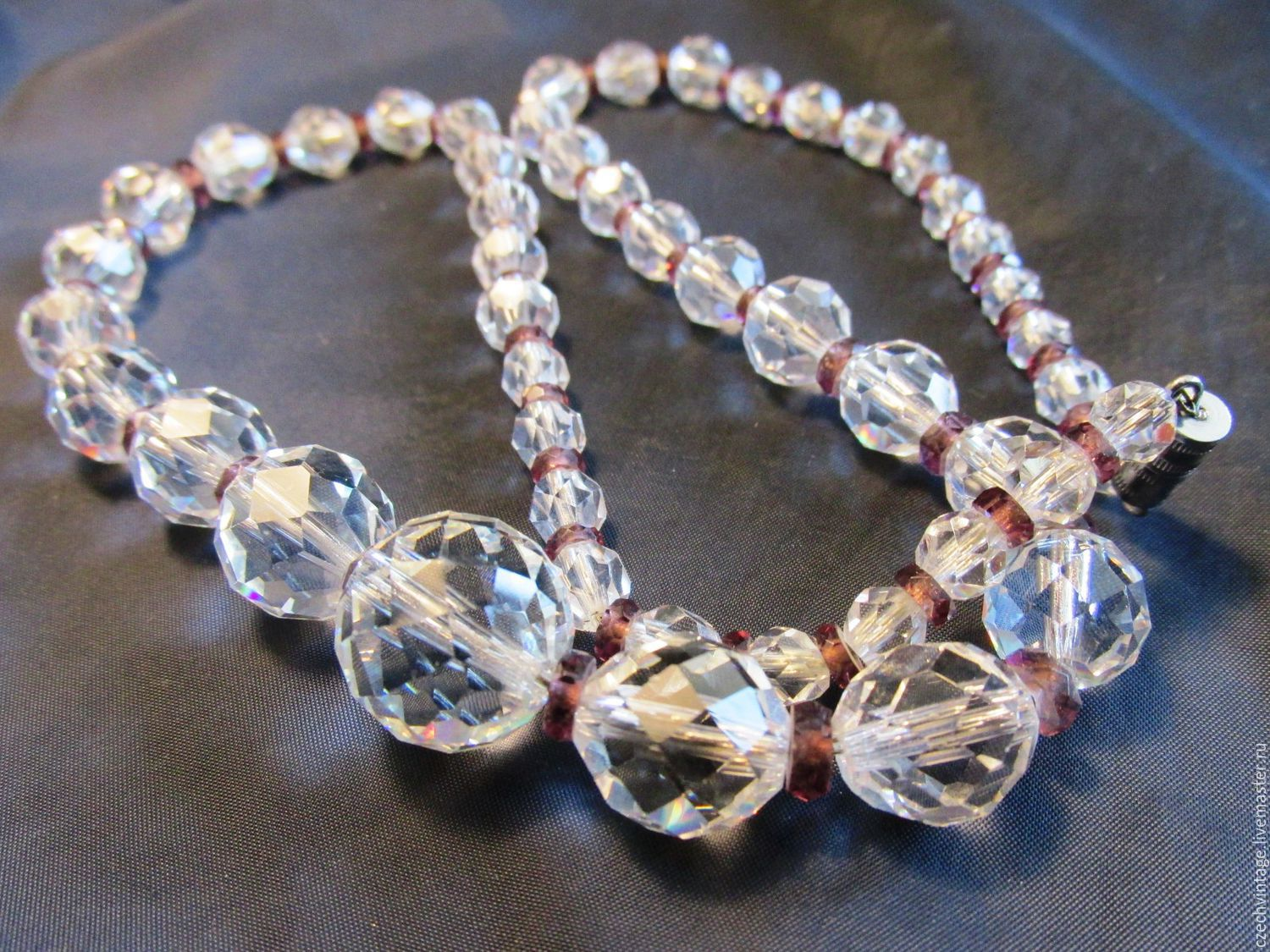 45 cm CZECH NECKLACE FACETED CRYSTAL APPLE, Vintage necklace, Prague,  Фото №1