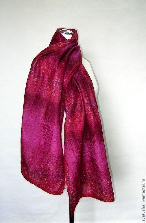 """Шали, палантины ручной работы. Ярмарка Мастеров - ручная работа. Купить Палантин валяный """"Бургундский"""" войлочный мериносовый шелковый шарф. Handmade."""