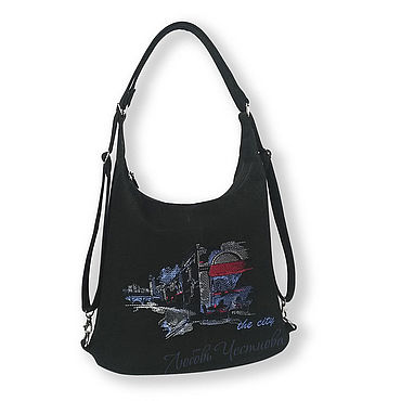 Bags and accessories handmade. Livemaster - original item Copy of Denim bag Geometry. Handmade.