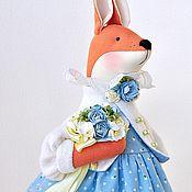 Куклы и игрушки ручной работы. Ярмарка Мастеров - ручная работа Душечка. Лиса, лисичка, игрушка лиса в голубом. Handmade.