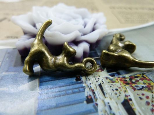 Для украшений ручной работы. Ярмарка Мастеров - ручная работа. Купить 10 шт металлические подвески бронзовую кот c1484. Handmade.