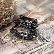 Материалы для творчества handmade. Livemaster - original item Shvenzy with zircons with lock 16 mm black (3577). Handmade.