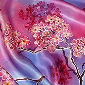 """Аксессуары ручной работы. Ярмарка Мастеров - ручная работа Шарф батик """"Вишневый цвет"""" ручная работа, натуральный шелк. Handmade."""