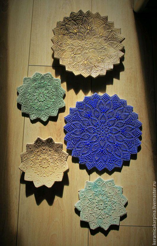 """Тарелки ручной работы. Ярмарка Мастеров - ручная работа. Купить Тарелки """"Кружевные"""". Handmade. Керамика, глина, керамическая посуда, глина"""