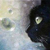 Картины и панно handmade. Livemaster - original item A Black Cat. Handmade.
