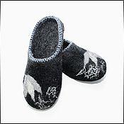 """Обувь ручной работы. Ярмарка Мастеров - ручная работа Тапочки """" Черно-серые"""". Handmade."""