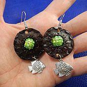 Украшения handmade. Livemaster - original item Leather earrings Fish. Handmade.