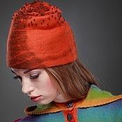 """Аксессуары ручной работы. Ярмарка Мастеров - ручная работа """"Оранжевая"""" шапочка. Handmade."""