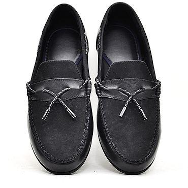 Обувь ручной работы. Ярмарка Мастеров - ручная работа Мокасины ручной работы, кожа+замша, чёрный цвет.. Handmade.