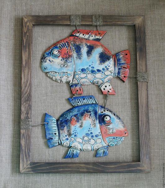 Подвески ручной работы. Ярмарка Мастеров - ручная работа. Купить керамическое панно Рыбы. Handmade. Бирюзовый, Керамика