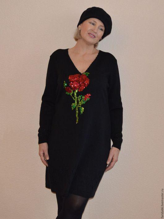"""Кофты и свитера ручной работы. Ярмарка Мастеров - ручная работа. Купить Платье """"Сказочный цветок"""". Handmade. Черный, шерстяное платье"""