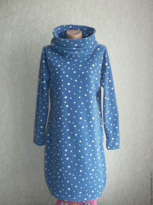 """Платья ручной работы. Ярмарка Мастеров - ручная работа. Купить Платье флисовое синее  """"Звездная ночь"""". Handmade. Платье с рукавами"""
