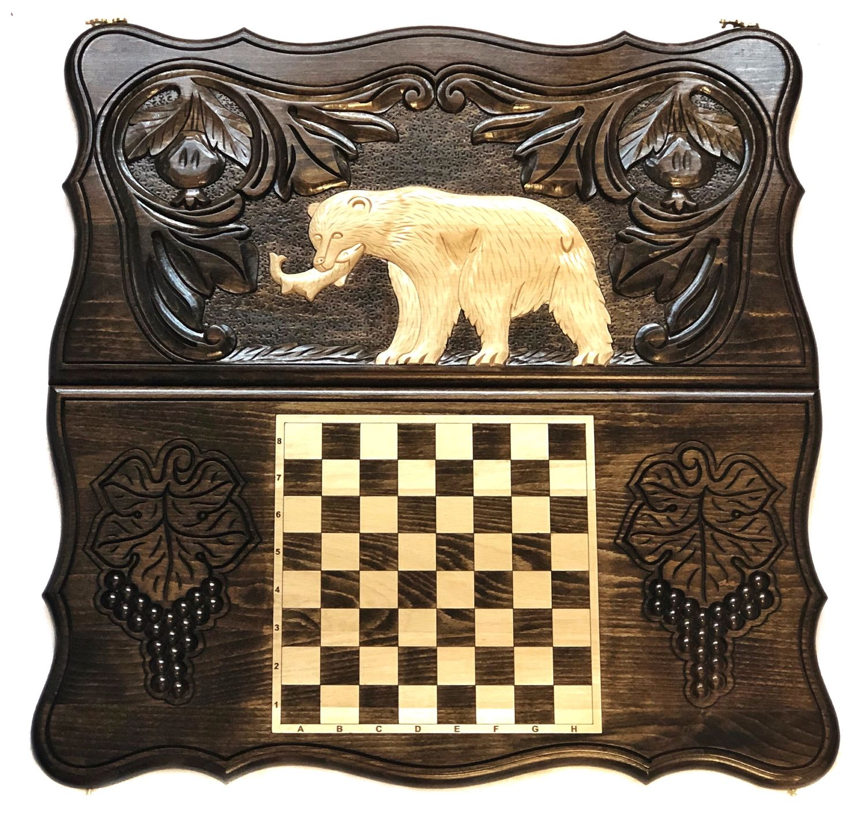 Backgammon handmade 'Bear 1' Art. .031, Backgammon and checkers, Moscow,  Фото №1