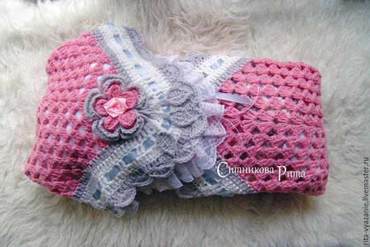 Пледы и одеяла ручной работы. Ярмарка Мастеров - ручная работа. Купить Плед на выписку (в коляску, в кроватку). Handmade. Розовый