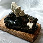 Для дома и интерьера handmade. Livemaster - original item miniature of ivory Lynx. Handmade.