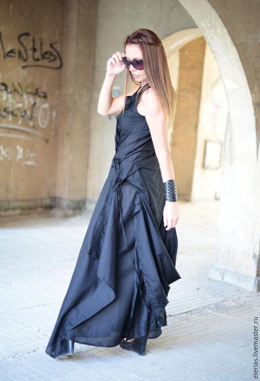 Платье в пол. Длинное летнее платье. Платье из льна.