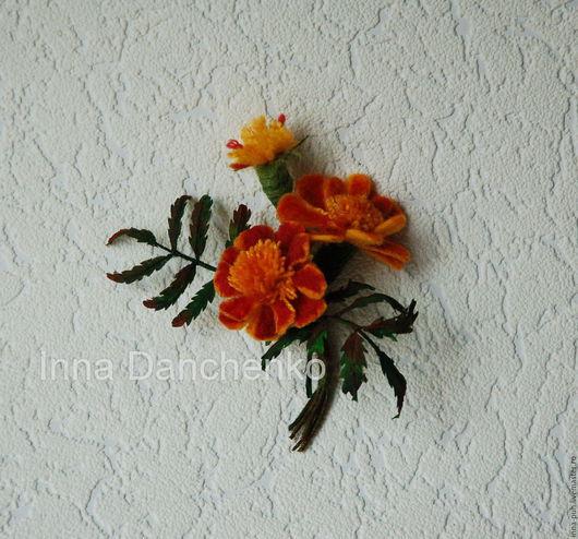 Бархатцы, бархатцы цветы, валяная брошь из шерсти, чорнобривці, Данченко Инна, Брошки и Игрушки