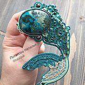 Украшения handmade. Livemaster - original item Soutache pendant, decoration suspension with natural stone Fish Sea. Handmade.