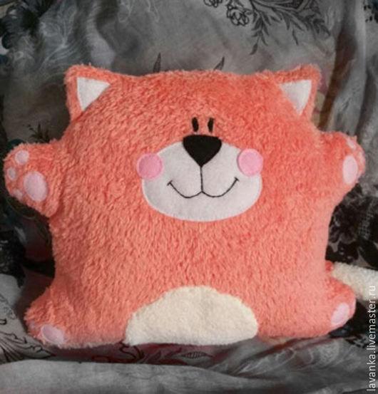 Игрушки животные, ручной работы. Ярмарка Мастеров - ручная работа. Купить Розовый кот-подушка. Handmade. Коралловый, котик