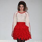 Одежда ручной работы. Ярмарка Мастеров - ручная работа Юбка красная в комплекте с блузкой. Handmade.