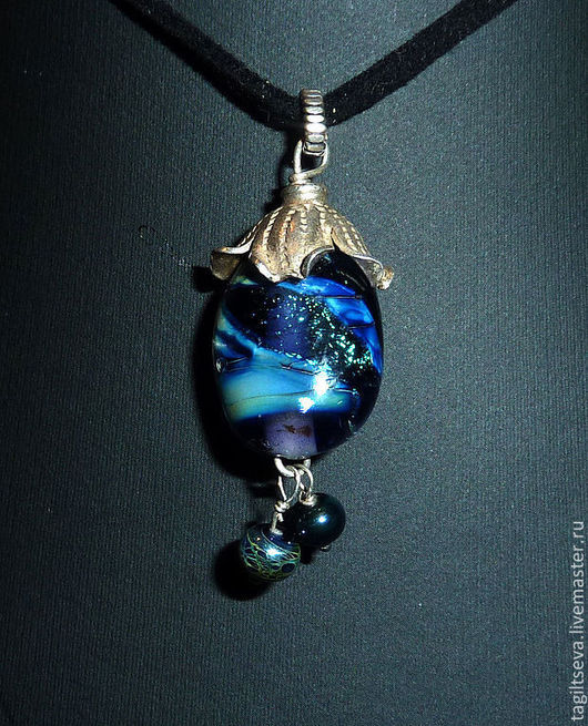 Кулон lampwork - Космический баклажан (кулон лэмпворк кулон)