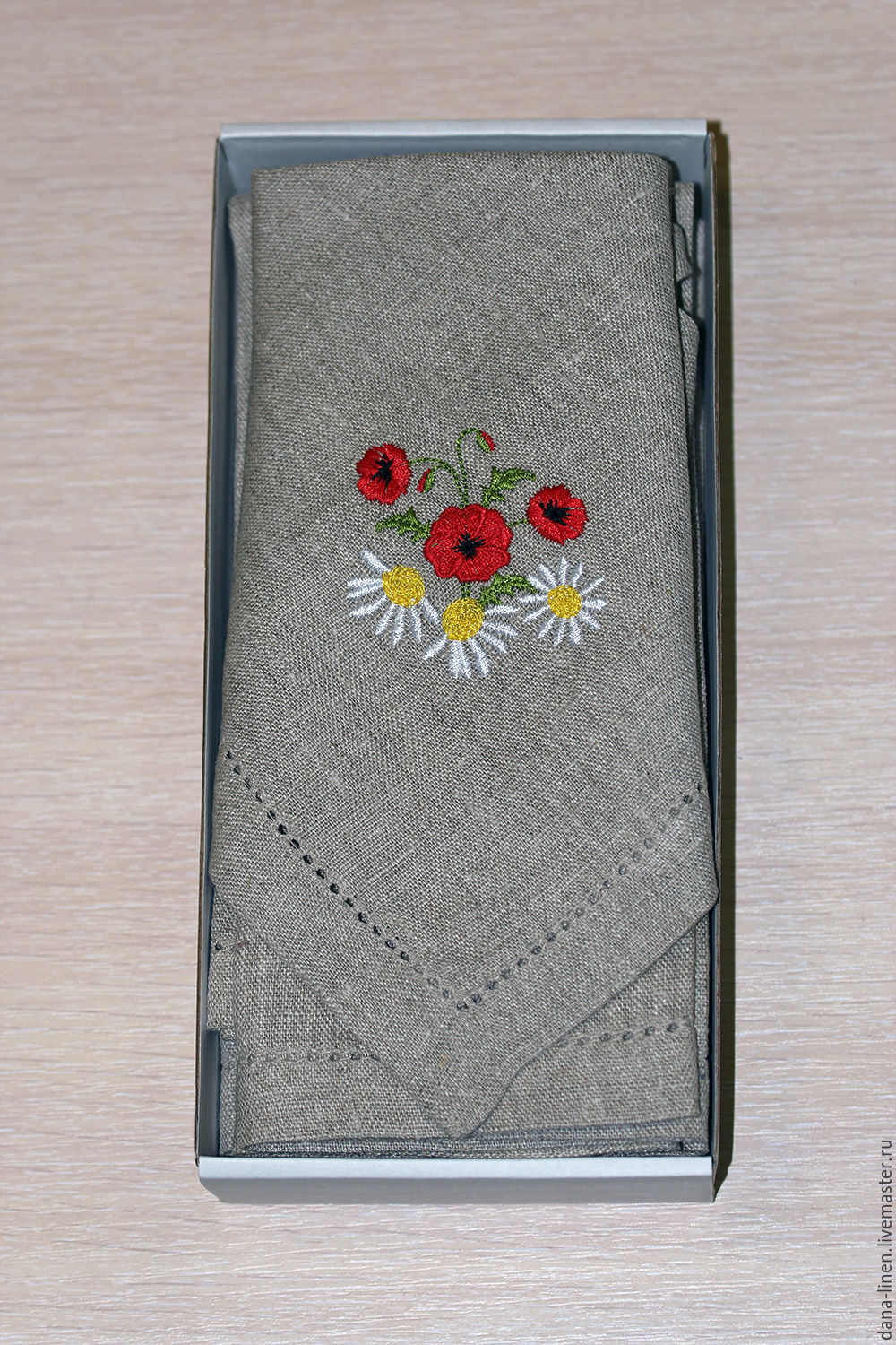 A set of linen napkins with embroidery 'Bouquet', Edible bouquets, Moscow,  Фото №1