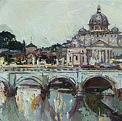 Картины и панно handmade. Livemaster - original item St. Angelo Bridge in Rome, Italy - Original oil painting. Handmade.