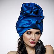Аксессуары handmade. Livemaster - original item Royal Blu silk organza turban with a bead Pearl. Handmade.