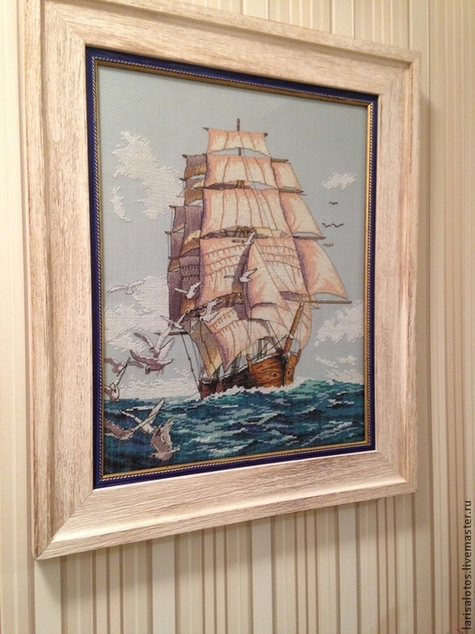 Картина, вышитая крестиком `Парус надежды - корабль мечты` Мастер Лариса Рябцева