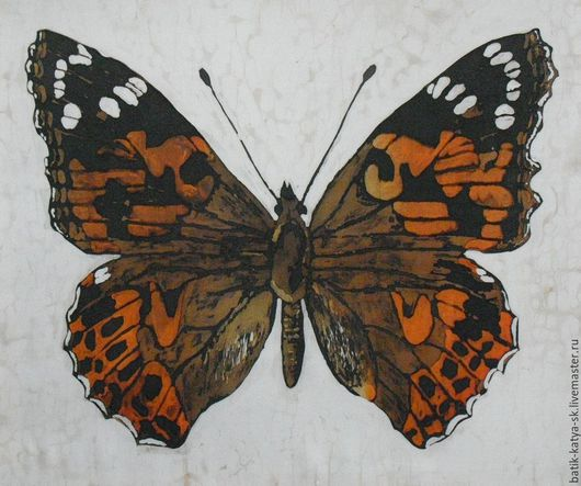 Животные ручной работы. Ярмарка Мастеров - ручная работа. Купить Батик панно «Бабочка» на шелке. Handmade. Бежевый, бабочка на шелке