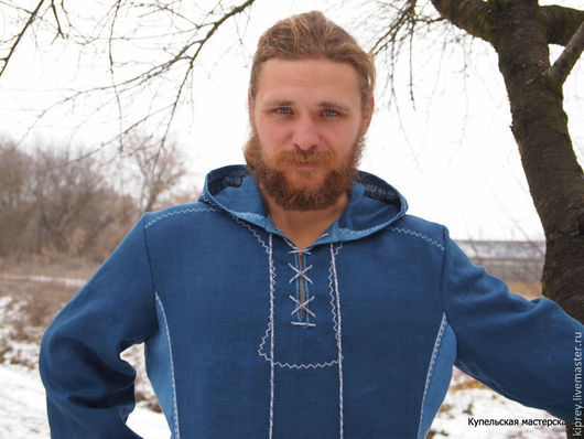 Мужская льняная рубашка в этническом стиле