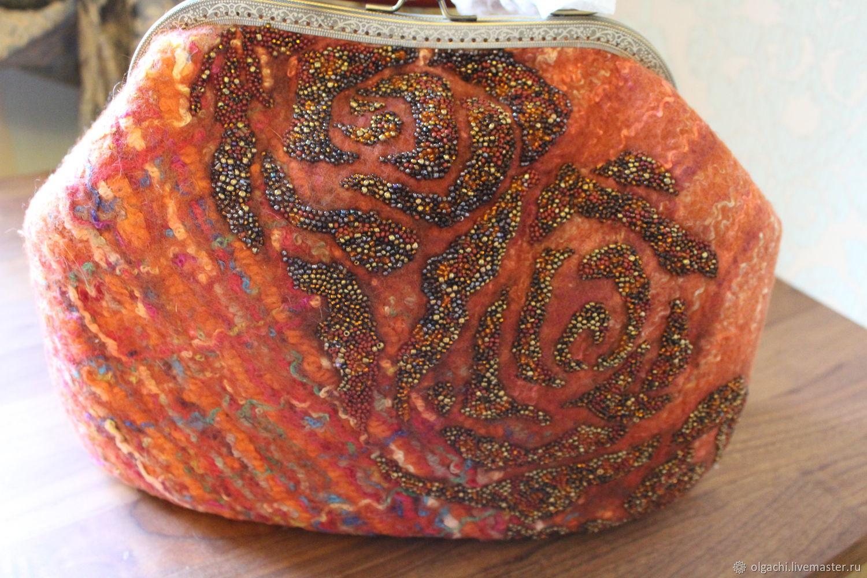 Сумка валяная терракотовая, Классическая сумка, Качканар,  Фото №1