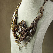 Украшения handmade. Livemaster - original item Beaded necklace in bronze color. Handmade.