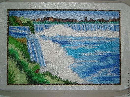 """Пейзаж ручной работы. Ярмарка Мастеров - ручная работа. Купить Картина. """"Ниагарский водопад."""". Handmade. Машинная вышивка, водопад"""